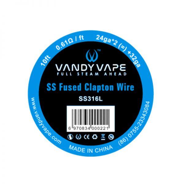 Fused Clapton SS316L - 24ga*2(=)+32ga - 3m