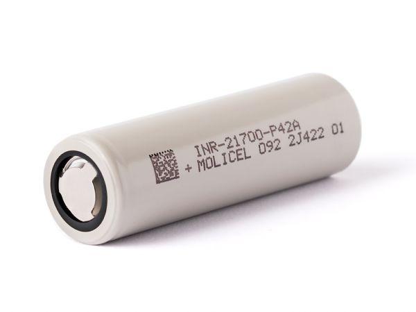 Molicel INR21700-P42A, 4200mAh 30A /45A - Lithium Ionen Akku liegend