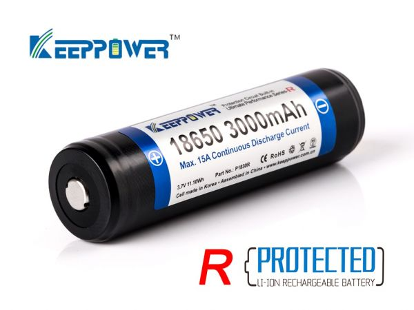 Keeppower R 18650 3000mAh 3,6V - 3,7V Li-Ion-Akku PCB geschützt